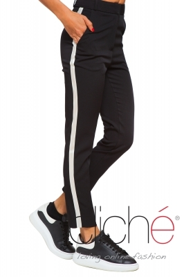 Black trousers with white side stripe