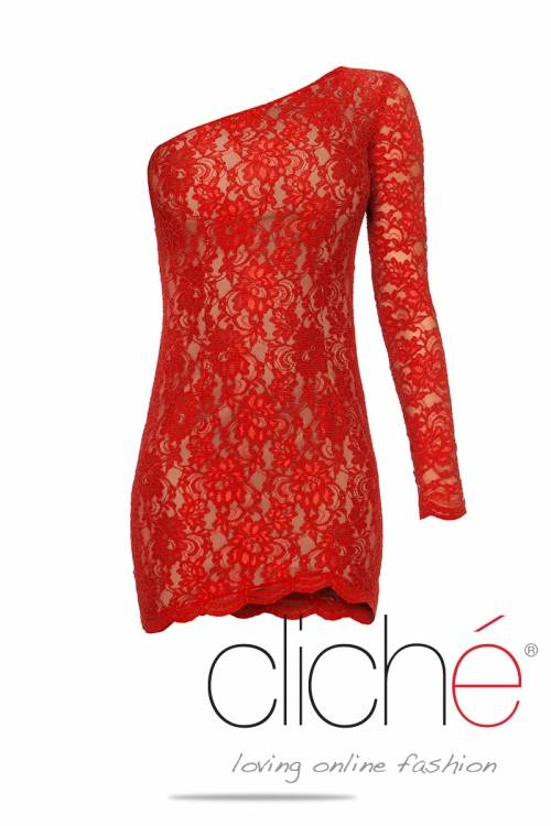 One shoulder red lace dress