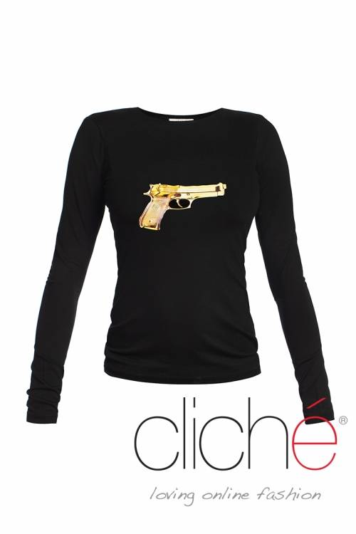 Black blouse with print golden gun