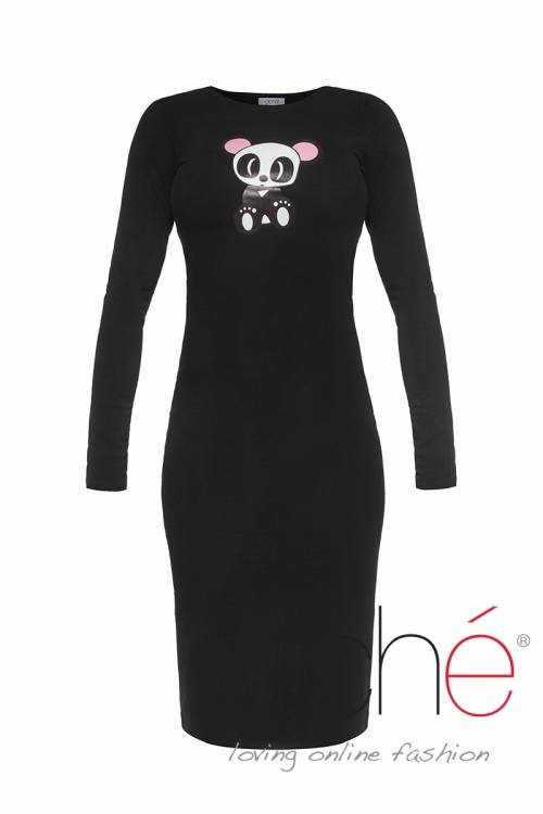 Black knitted dress with print panda