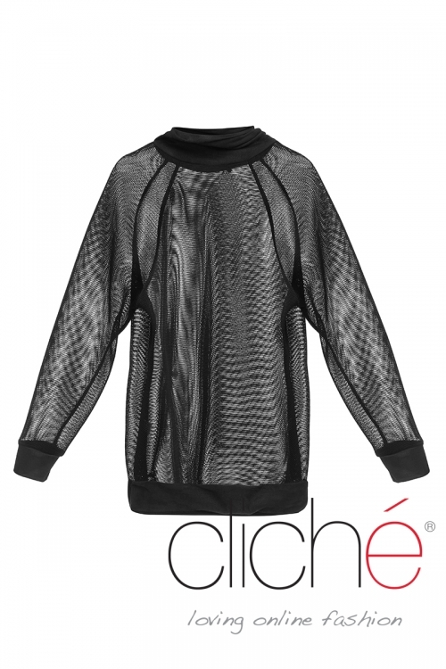 Net and suade long-sleeved top