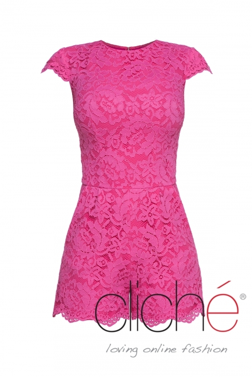 Lace jumpsuit in pink