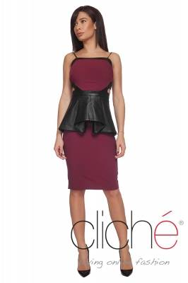 Wine-red dress with leather peplum