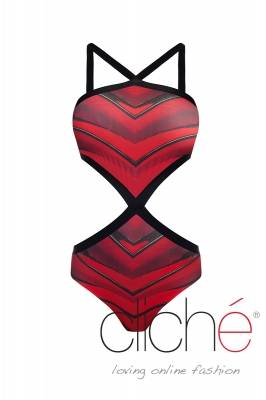 Swimsuit with red print