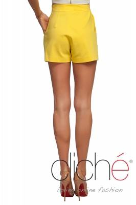 Shorts with high waist in yellow