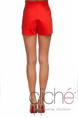 Shorts with high waist in coral