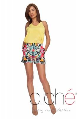 Shorts with high waist with color print