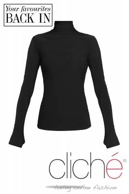 Turtle neck blouse in black