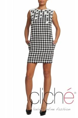 Dress in shepherd's plaid with straight silhouette
