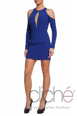 Dress with cutout shoulders in blue