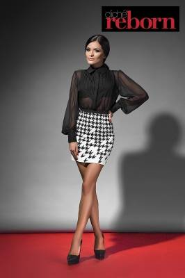 Short skirt with dogtooth print