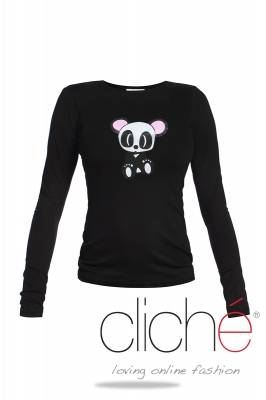 Black blouse with panda print