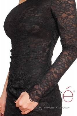 One shoulder dress with black lace