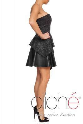 Black lace dress with leather element