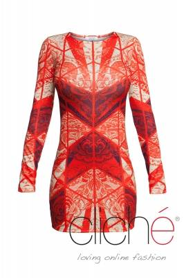 Dress with lace print in orange