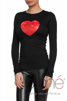Black blouse with crystal heart