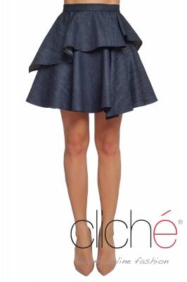 Denim skirt with peplum