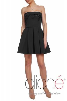 Official mini dress in black with crystals