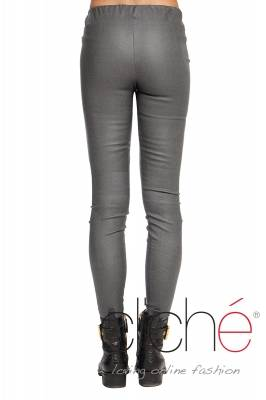 Grey leather leggings