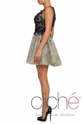 Official  mini dress in beige with black elements