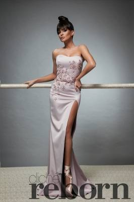 Powder pink dress with decoration