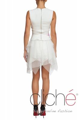 Ofificial asimetric white dress