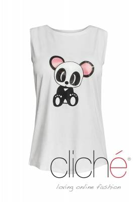 White top with panda print