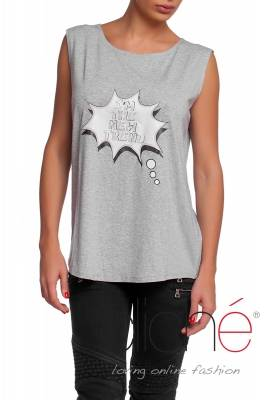 "Grey top with print "" I`m the New Trend"""