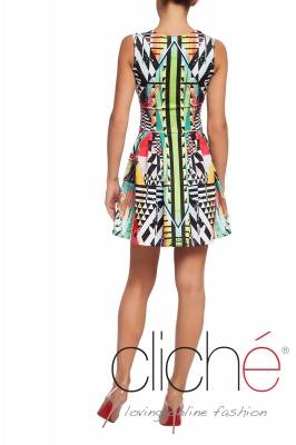 Fit and flare dress with color print