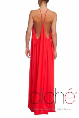 Long summer dress in coral