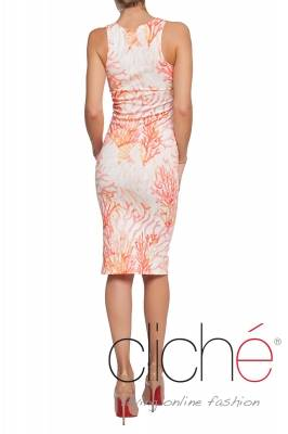 "Dress with ""Coral"" print"
