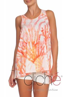 "Top with print ""Coral'"