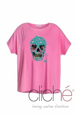 Pink t-shirt with blue skull