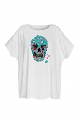 White t-shirt with blue skull