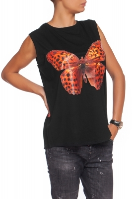 Top with an orange butterfly print