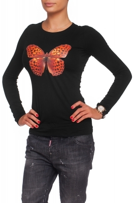 Black shirt with an orange butterfly