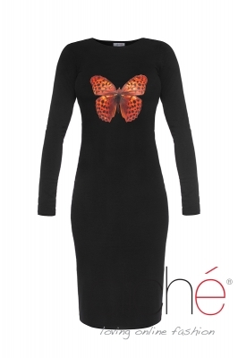 Knitted Dress with an Orange Butterfly