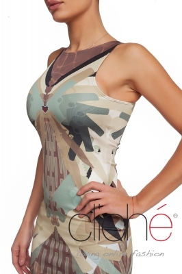 Dress with a military print in green