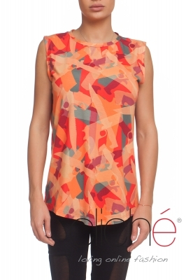 Orange top with a military print