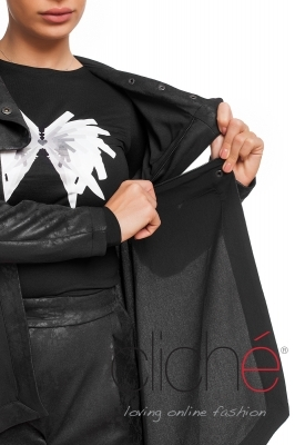 Coated leather jacket 2 in 1