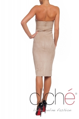Suede dress in beige