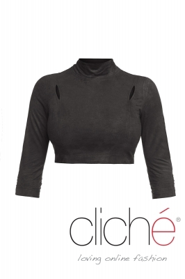 Short turtleneck blouse in black