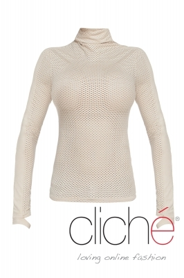 Turtleneck blouse in beige