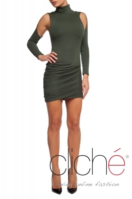 Knitted turtleneck dress in green