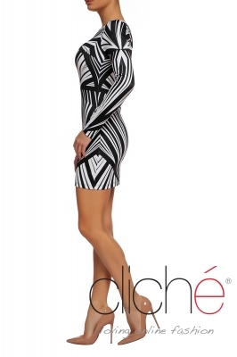 Black & white dress with a graphic print