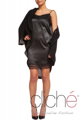 Satin dress in black