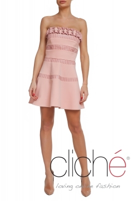Short pink dress with leather elements
