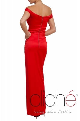 Red dress with bare shoulders
