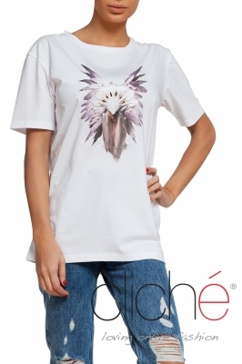 White t-shirt with tribal mask