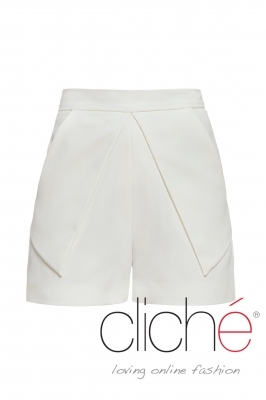 High-waisted cotton shorts
